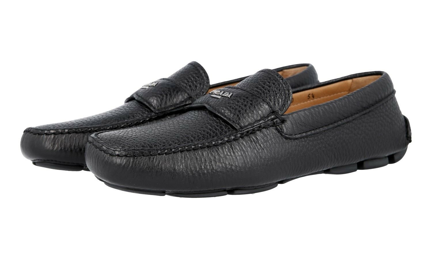 Auth LUXURY PRADA logo Mocassino Scarpe 2D2170 NERO DAINO NEW 6,5 40,5 41