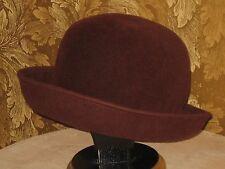 Women 100% Wool Felt Hat - ERIC JAVITS - Wine Burgundy - Fedora Bowler Derby USA