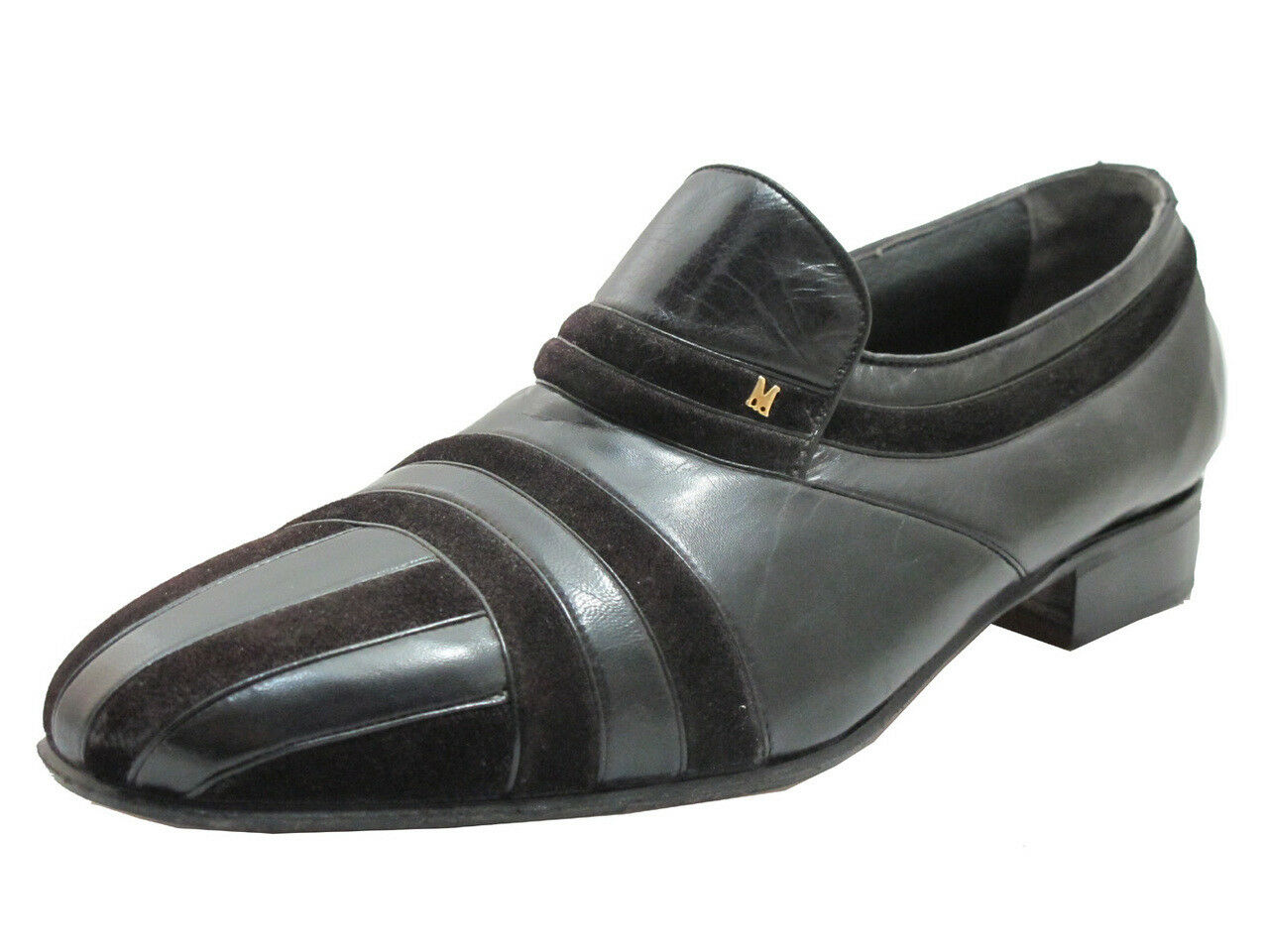Via Veneto Men's 9774 Italian leather Pin-stripe Slip on scarpe