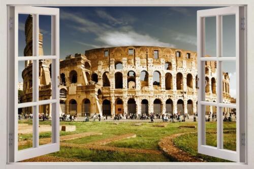 Colosseum Rome 3D Fenêtre Vue Autocollant Graphique Autocollant Mural Maison Art Mural H241
