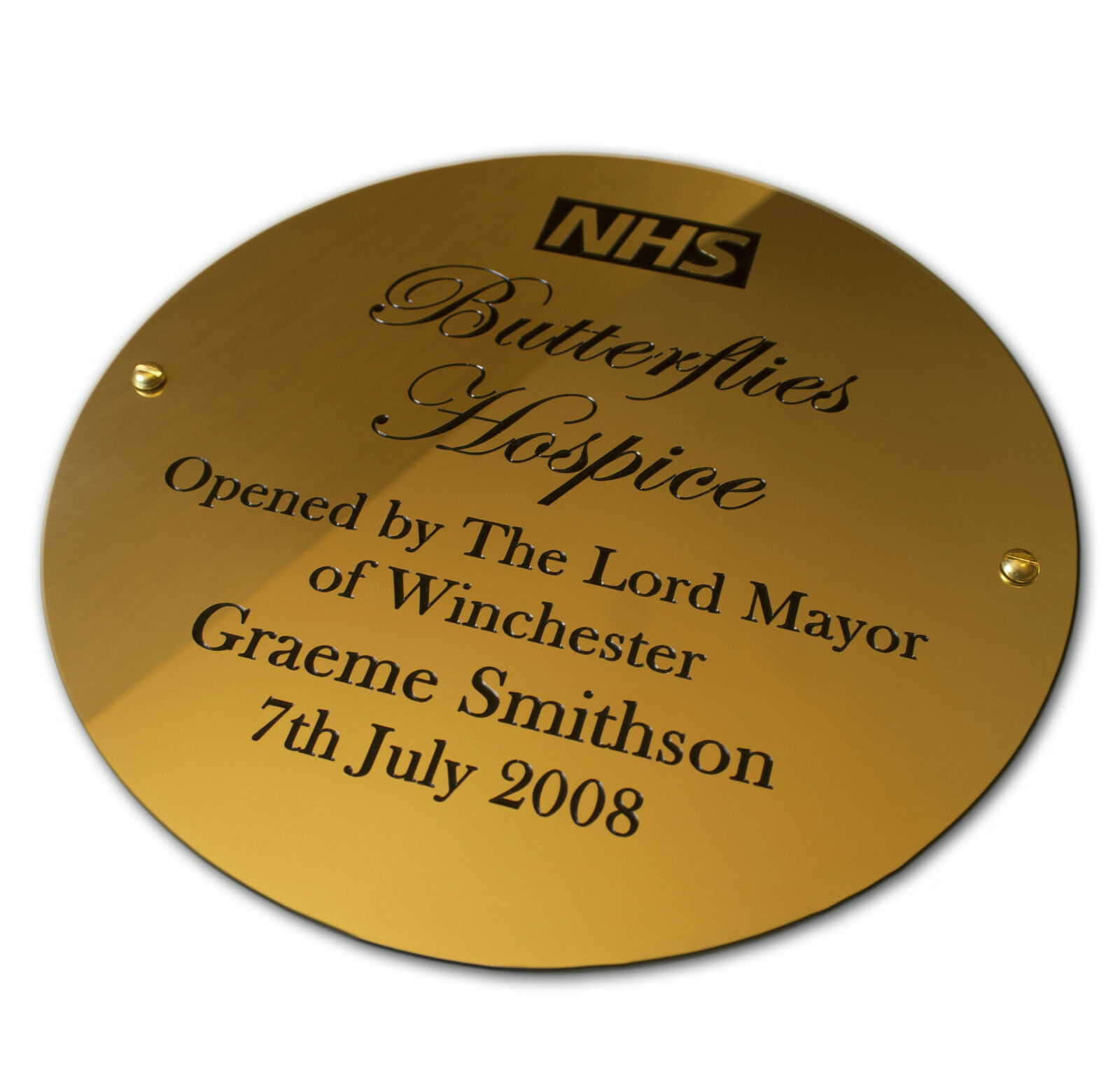 8  circular Brass Engraved Plaque Name plate. Deep Engraving in Solid Brass