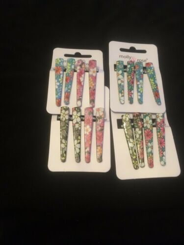 Pack 4 floral concorde hair beak clips mini 4.5cm slides grips flower clip grip