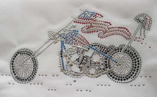 "10/"" Motorcycle Rhinestone Iron On,Hot Fix Transfer Motif Patch"