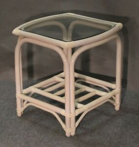Image Is Loading New Sunspree Rattan Side End Table With Glass
