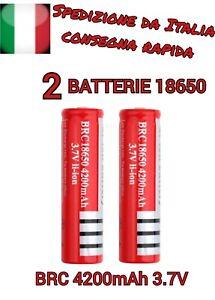 2X-BATTERIE-RICARICABILE-BRC18650-AL-LITIO-3-7V-PER-TORCE-LED-FOTOCAMER-4200mah