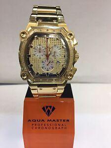 Men-Aqua-Master-Jojo-Jojino-Joe-Rodeo-Yellow-Metal-Band-40mm-Diamond-Watch-W-143