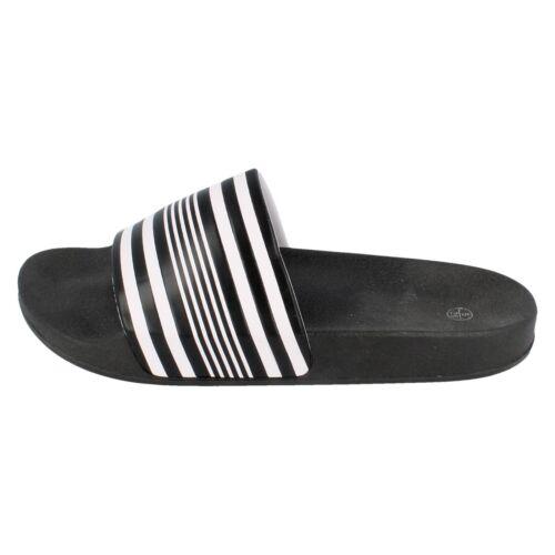 Boys Spot On Black//White Striped Slip ON Sliders N0R048