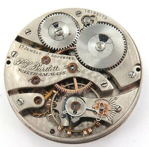 1907-WALTHAM-P-S-BARTLETT-16S-17J-POCKET-WATCH-MOVEMENT-amp-DIAL-ONLY-44-200-MADE