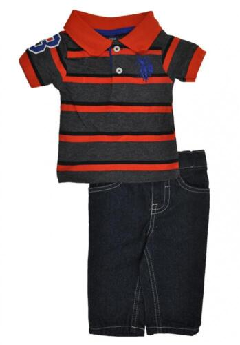 US Polo Assn Toddler Boys Orange Polo 2pc Denim Pant Set Size 2T 4T $39