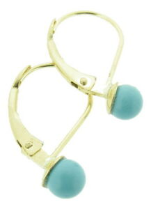Image Is Loading 9 Ct Gold Leverback Earrings With Turquoise Beads