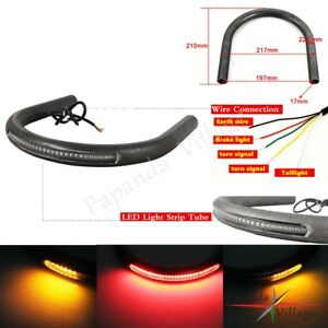 Cafe-Racer-Rear-Seat-Frame-Hoop-Loop-with-LED-Brake-Turn-Tail-Light-For-Large-CC