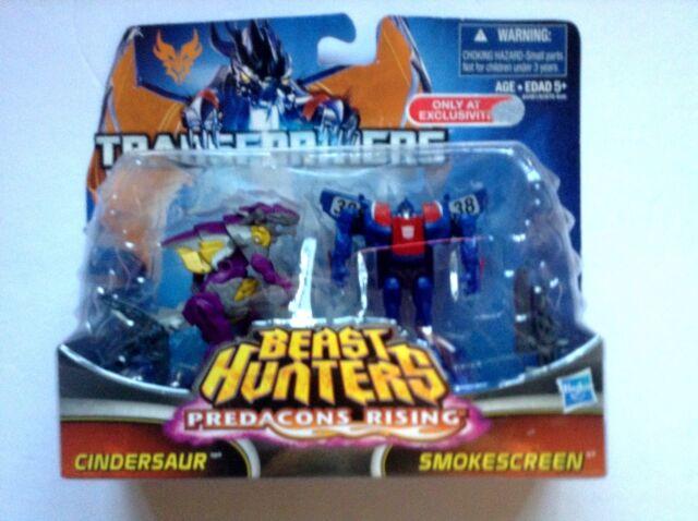 Transformers Beast Hunters Predacons Rising Cindersaur and Smokescreen