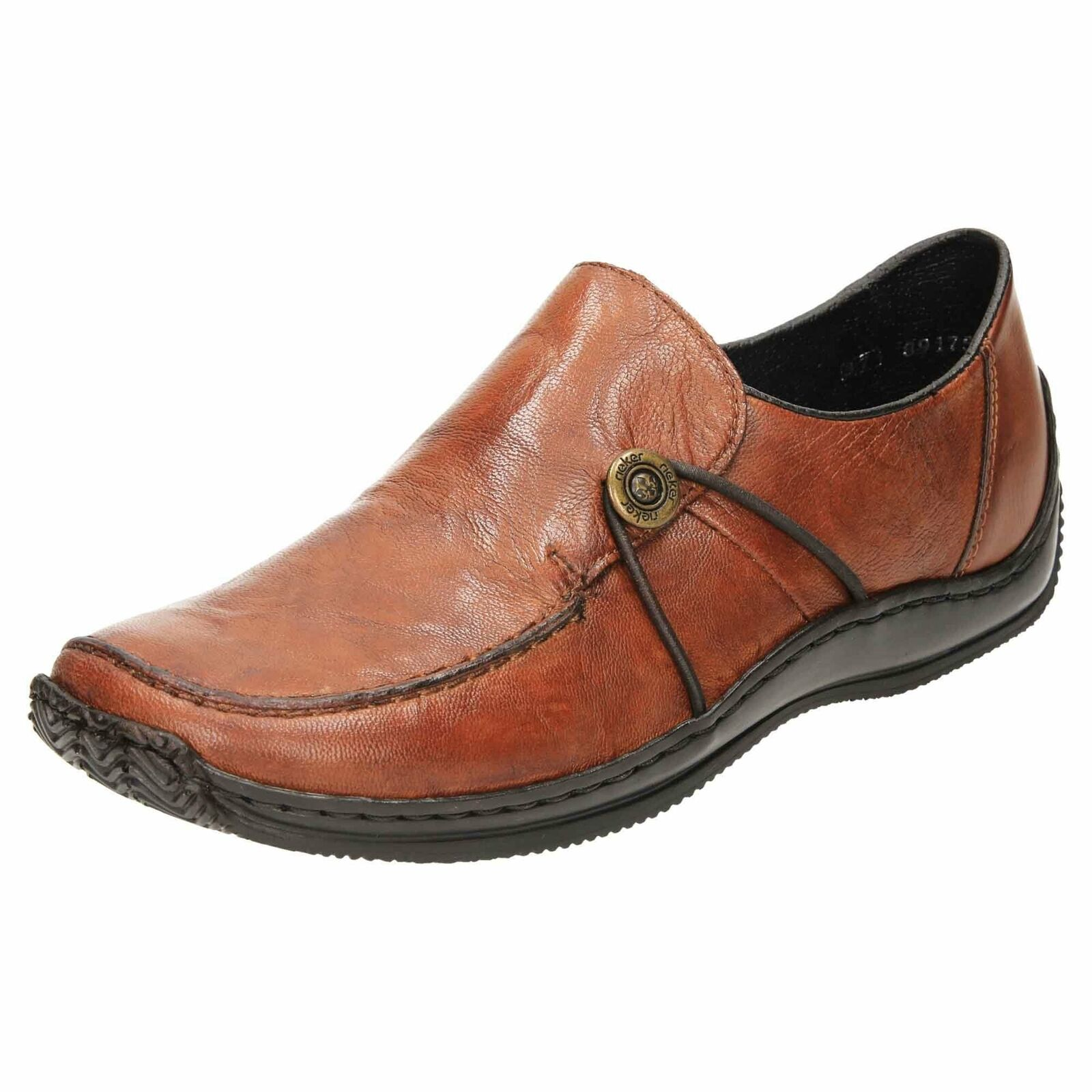 Rieker Slip on Flat Loafer Leather schuhe L1781-22 braun Casual Work Comfort