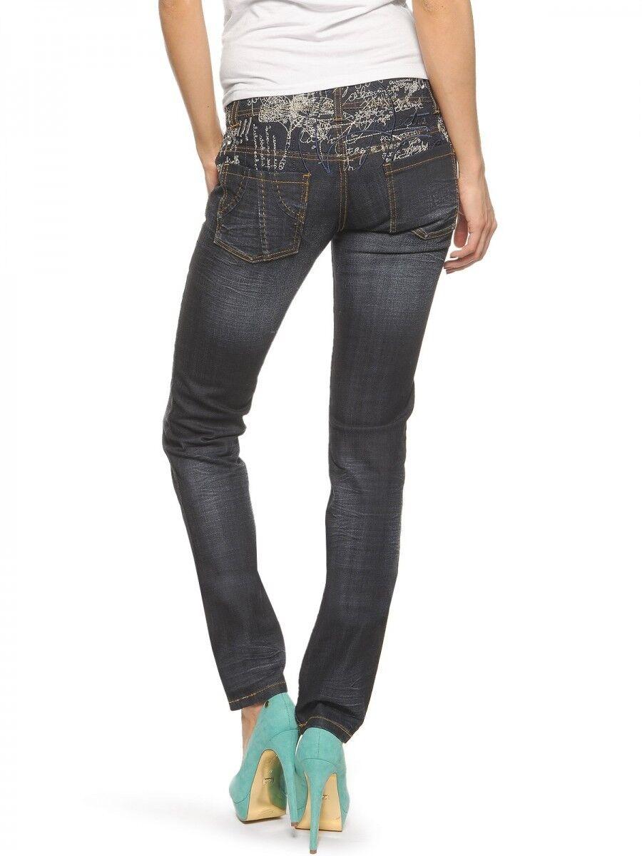Magnifique Pantalon Jean Enduit Brodé Slim Fit 07P2664   Desigual Dimensione 34