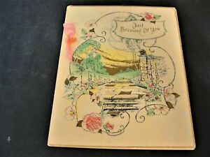 Just-Because-of-You-1950s-Vintage-Ephemera-Greeting-Card-9-x-7-inches-RARE