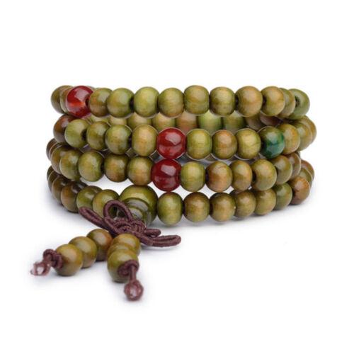 Mala bracelet bois de santal bouddha 108 perles bois prière perles vert