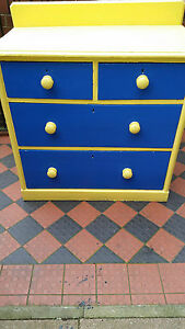 STUNNING-VICTORIAN-SOLID-PINE-PAINTED-CHEST-DRAWERS-2-LARGE-2-SMALL-BRASS-LOCKS