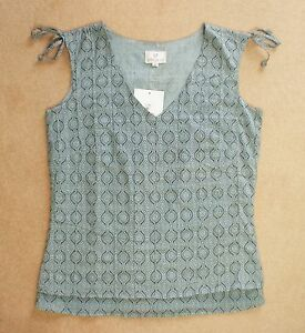 Tunic 'xs' Layered 8 Blouse 10 Cotton Summer Pintucks uk Anokhi Top Grey Size pxnq1wC55z
