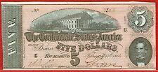 CONFEDERATE STATES OF AMERICA 17.2.1864 $5.00 SERIES 5 (CR#T-69) CU