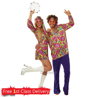 Hippy Fancy Dress Outfit Couples Costumes Mens Hippie Womens Hippie Adult 70s