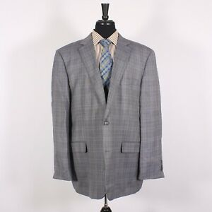 Joseph & Feiss 50L Gray Check Wool Two Button Sport Coat Blazer Jacket
