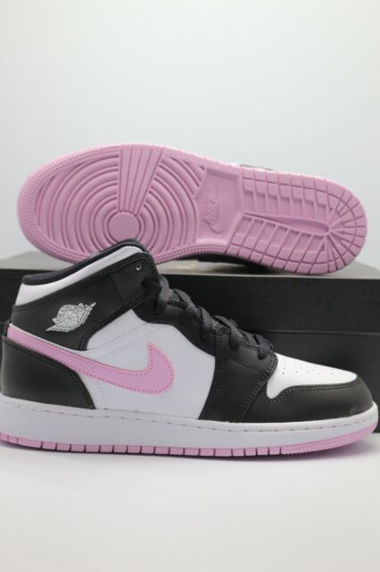 Nike Air Jordan 1 Mid GS Athletic Sneakers for Boys, Size 5 - White/Light Arctic Pink/Black