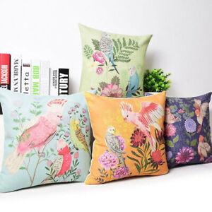 Am-BH-BU-Bird-Square-Cotton-Linen-Pillow-Cover-Case-Cushion-Cover-Home-Sofa-D