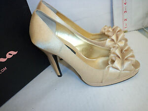Nina-Size-7-5-M-Evelixa-Royal-Gold-Satin-Open-Toe-Heels-New-Womens-Shoes