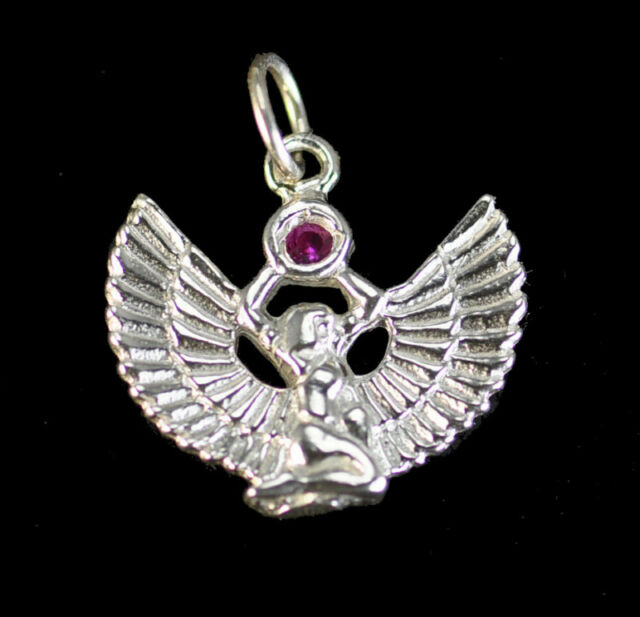 Cool Egyptian Jewelry Winged Isis Ruby Stone Sterling Silver 925 Charm Egypt Pe
