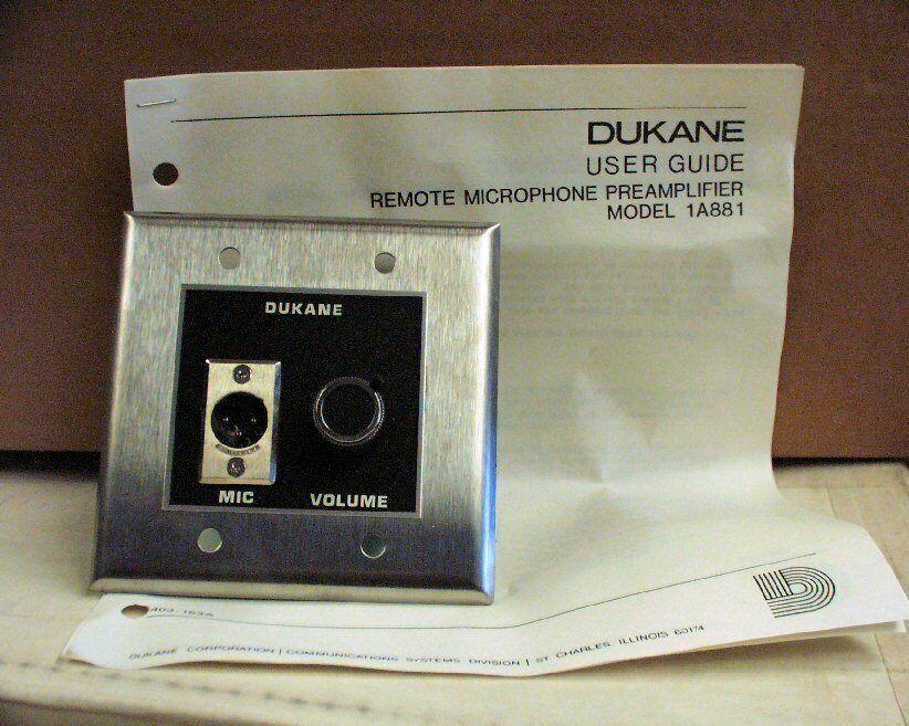 Dukane 1A881 Single Microphone Remote Preamplifier