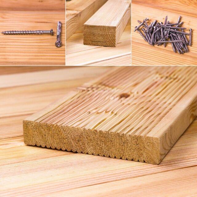 30 m² sibirische Lärche Bausatz Komplettset Terrassendielen 4,00 m Holz Massiv