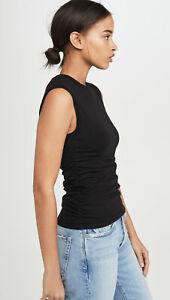 ATM Anthony Thomas Melillo Womens Pima Cotton Ruched Sleeveless Top