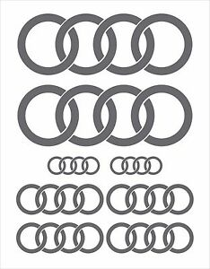 COMPLETE-8-PCE-SET-AUDI-RINGS-STICKERS-DECALS-in-SILVER-GREY-METALLIC-GLOSS