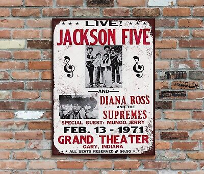 2 Jackson 5 /& The Supremes Grand Theater Indiana Retro Vintage Metal Wall Sign