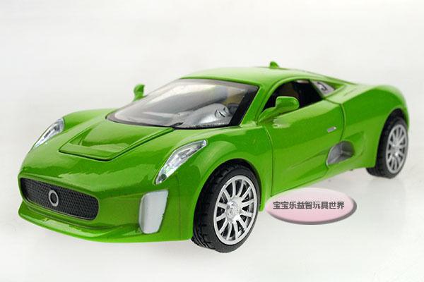 1:32 Jaguar C-X75 Alloy Diecast Car Model Toys Vehicle Sound&Light Green 2256