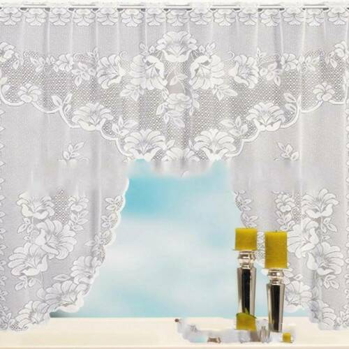 Modern Lace Coffee Cafe Mesh Curtain Panel Curtain Set Window Curtains Decor G