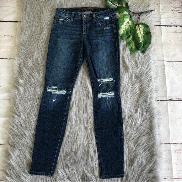 Women Joe's Skinny Ankle Midrise Fit Stretch Distressed Addison bluee Sz 26