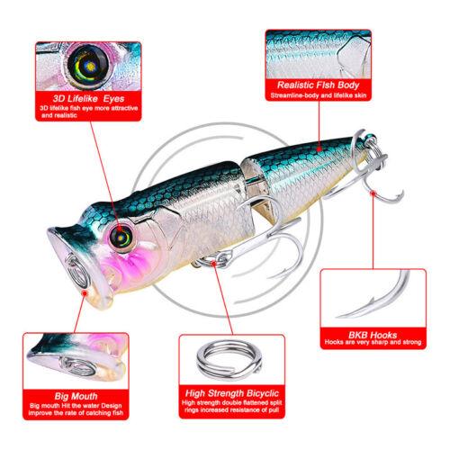 8PCS Fishing Lures Topwater Popper Bait Hard Bait Wobblers Fishing Tackle 8cm