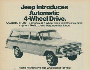 Jeep Wagoneer Quadra Trac Vintage Magazine Print Ad 1973