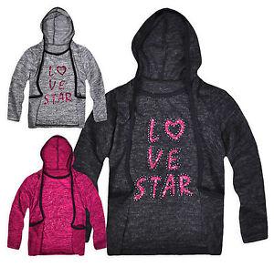 Girls-Jumper-T-Shirt-New-Kids-Long-Sleeved-Hooded-Lightweight-Top-Age-3-12-Years