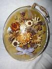 ancien reliquaire cadre ovale verre bombé à suspendre décor fleurs séchées