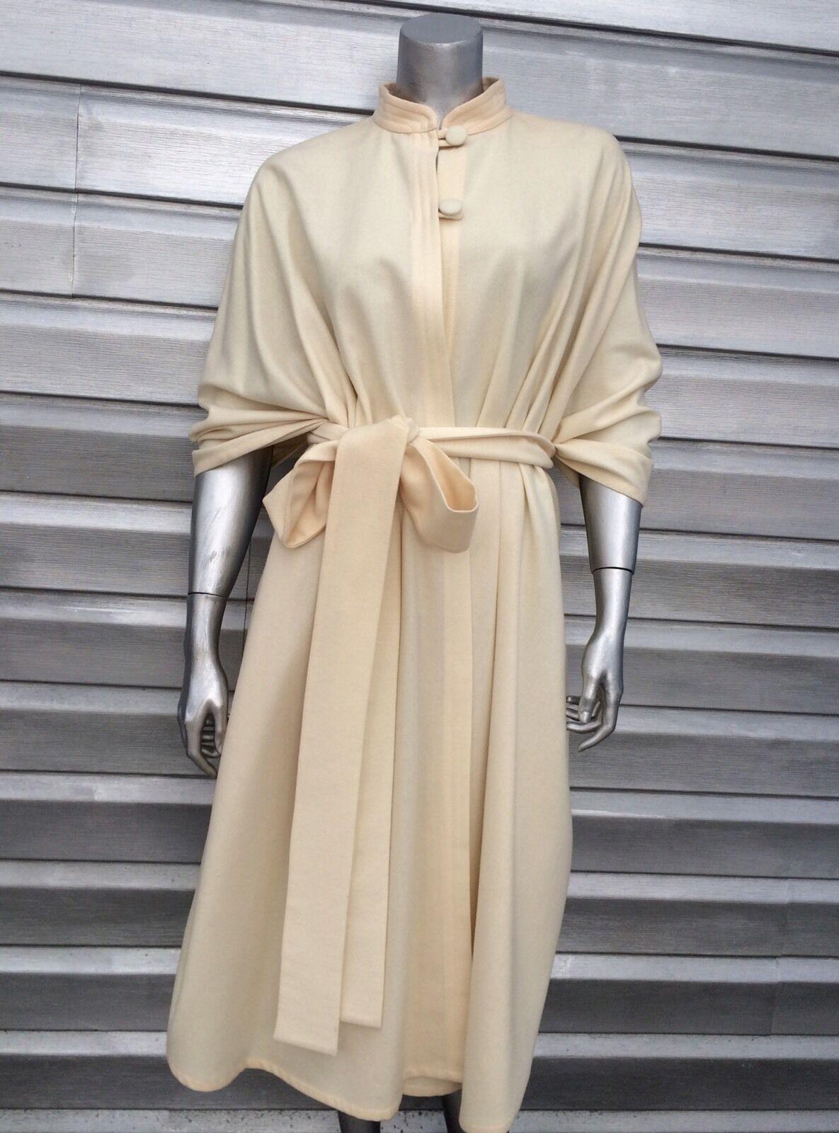 TEXAS BODY HANGINGS Ivory Bone Wool Belted Cape Wrap Cloak Cloak Cloak e5fd9d
