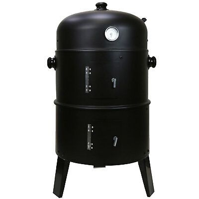 Black Garden 3 in 1 BBQ Charcoal Grill Barbecue Smoker & Hangers Outdoor Cooker