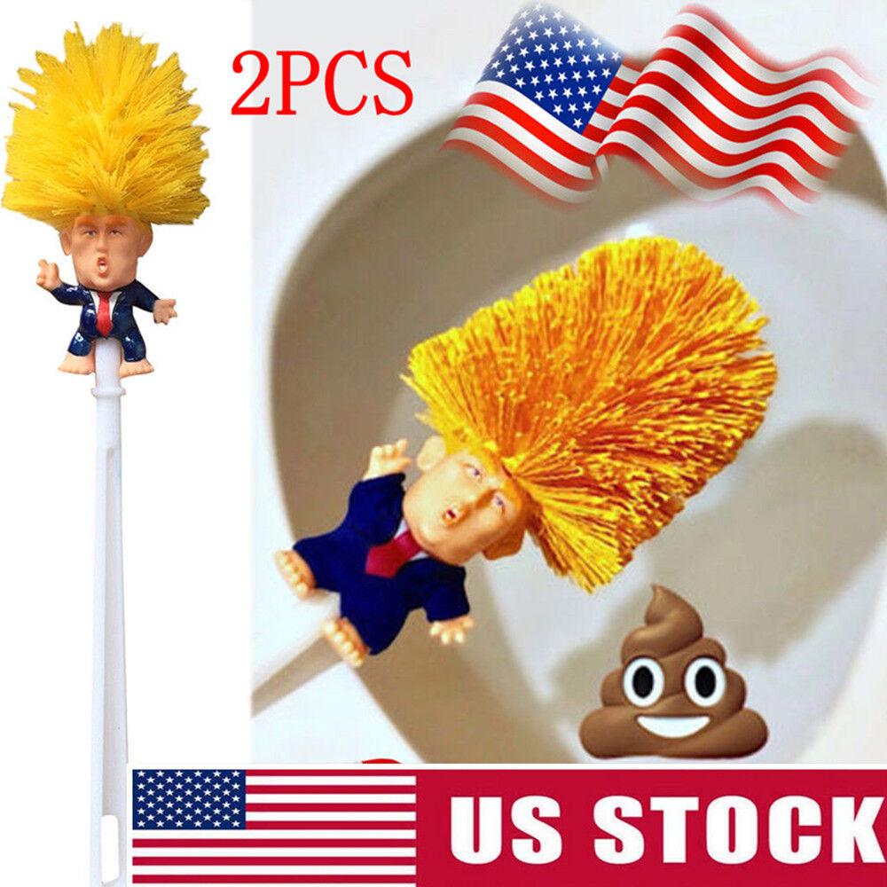 2PCS Donald Trump hand made Toilet Bowl Brush Funny Gag Christmas Gift KY