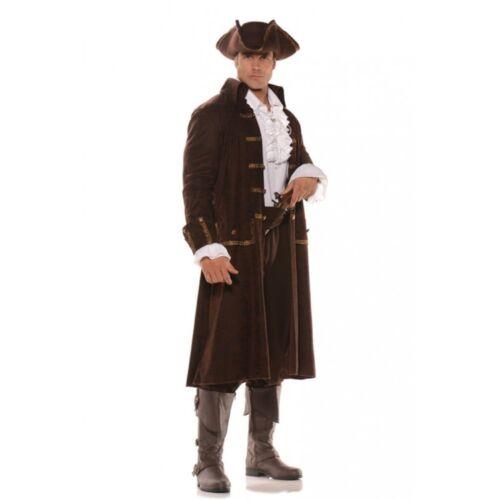 Captain Barrett Pirate Costume Brown Faux Leather Print Buccaneer Adult Mens