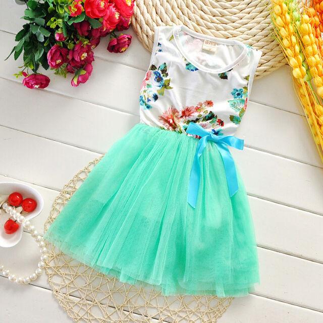Ribbon flowers girls dress children dress Baby Kids Toddler Princess Party Dress