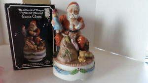 Price Handpainted Bisque Porcelain Musical Santa Claus - Vintage/In Box!