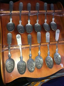 Franklin-Mint-12-of-13-Original-American-Colonies-Pewter-Spoons-Homestead-Find