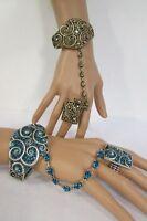 Women Fashion Cuff Bracelet Hand Chain Rhinestones Ring Gold / Silver Blue