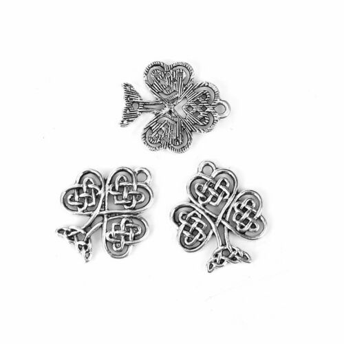 20 Or 50PCs Celtic Knot Shamrock 23mm Silver Plated Clover Charms C0867-10